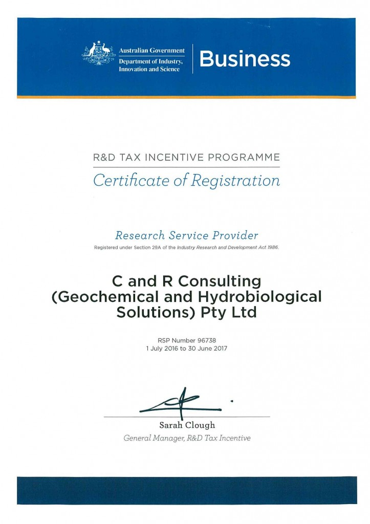 Research Service Provider Certificate